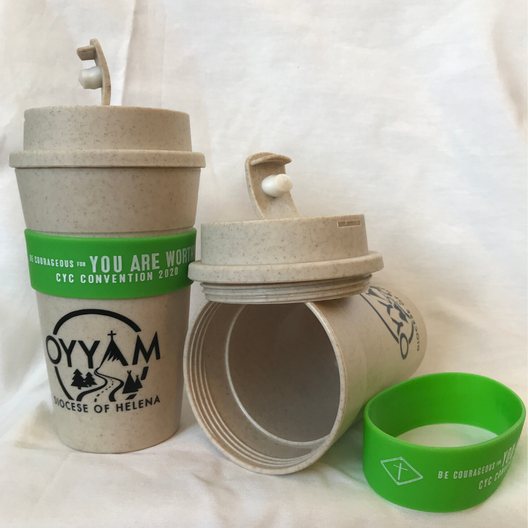• 16 oz., earth-friendly, reusable coffee tumbler<br /> • Made with wheat fibers of leftover wheat stalks after a harvest. (Don't worry: it is gluten-free!)<br /> • Screw on, spill-resistant sip through lid for travel. <br /> • Comes in a natural color with a lime-green